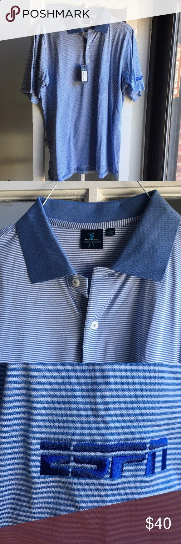 Golf Shirts - Blue and white collared golf shirt Blue and white striped golf shirt with blue collar and ESPN branding on the sleeve. Shirts Polos