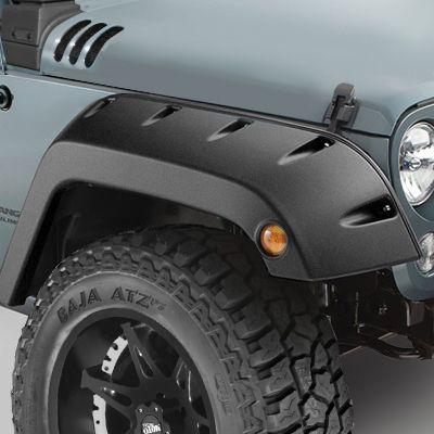 """Bushwacker Pocket Style """"Factory Width Coverage"""" Front Fender Flares in OEM Style Textured Black Finish for 07-17 Jeep Wrangler JK & JK Unlimited"""