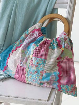Learn how to make your own wooden-handled, quilted bag       DIY Craft Purse Project at WomansDay.com - Woman's Day