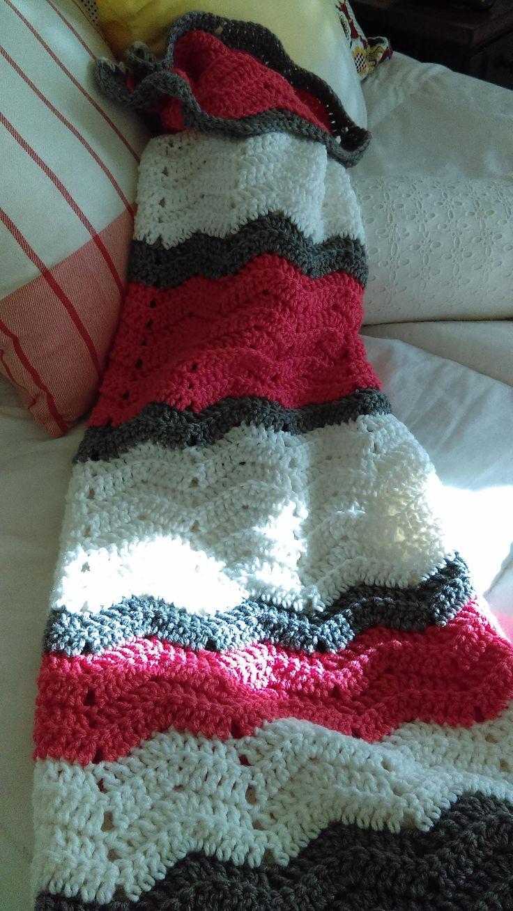 Hand Crocheted Coral, Grey and White Chevron Afghan http://etsy.me/2nEPiRn #housewares #bedroom #bedding #chevron #baby #no #handmadeafghan #crochetedafghan #chevronafghancoral