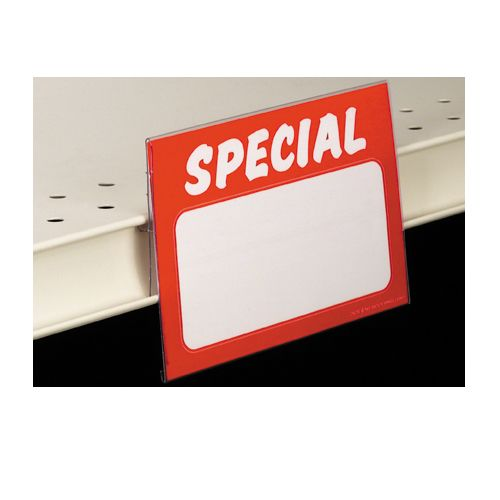 Use our clear plastic insert sign holder to protect and center signs on shelf channels and gondola shelving.
