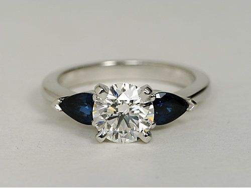 Classic Pear Shaped Sapphire Engagement Ring in Platinum for Larger Diamonds #BlueNile #engagement #ring