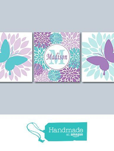 Butterfly Nursery Wall Art, Butterfly Wall Art, Butterfly Girl's Room Wall Art, Butterfly Purple Teal Nursery Wall Art-12x12 UNFRAMED Set of 3 PRINTS (NOT CANVAS) from Sweet Blooms Decor http://www.amazon.com/dp/B018F2EYSI/ref=hnd_sw_r_pi_dp_5bl.wb16FPZ0J #handmadeatamazon