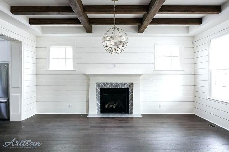 Gray Shiplap Wall Rustic Beams Wall White Fireplace With Gray Brick Stone Gray Shiplap Wallpaper Shiplap Living Room Home Living Room Remodel