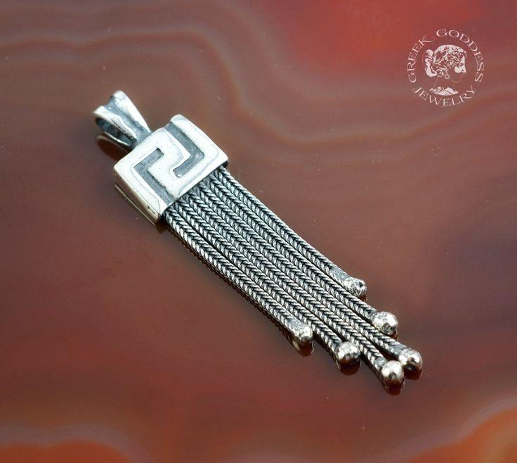 byzantine chain Greek Key silver pendant, chain pendant, antique pendant, byzantine pendant, greek key pendant, greek jewelry by GreekGoddessJewelry on Etsy