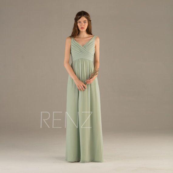 2015 Dusty Shale Bridesmaid dress V neck Wedding dress by RenzRags