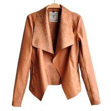 Fashion Long Sleeve PU Leather Jacket 2015 Faux Turn-Down Collor Leather Jackets Women Slim Coats Plus Size Feminino S-4XL 59CNS(China (Mainland))