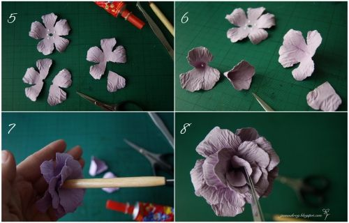 Flowers of thick paper | The Handmade Crafts