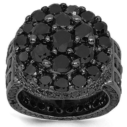 10K Gold Black Rhodium Plated Mens Diamond Pinky Ring 14.89 Ctw: Avianne & Co: Jewelry
