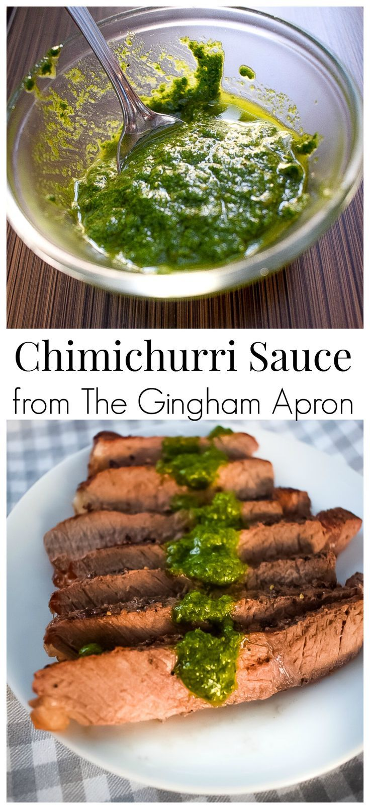 Chimichurri Sauce- a South American specialty that combines the fresh flavors of mint, parsley, and cilantro. So delicious over steaks, chicken, or seafood. #fresh #herbs #cilantro