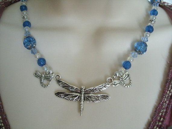Dragonfly Necklace Victoriaanse sieraden art door Sheekydoodle