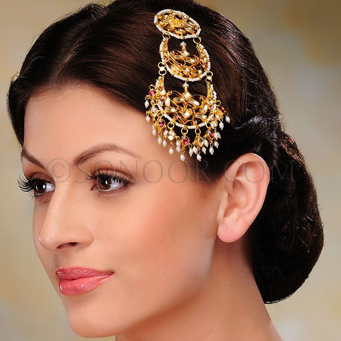 ACR/1/3311 Jhumar in dull gold finish studded with pachi kundan and rhodonite stones $98 £58