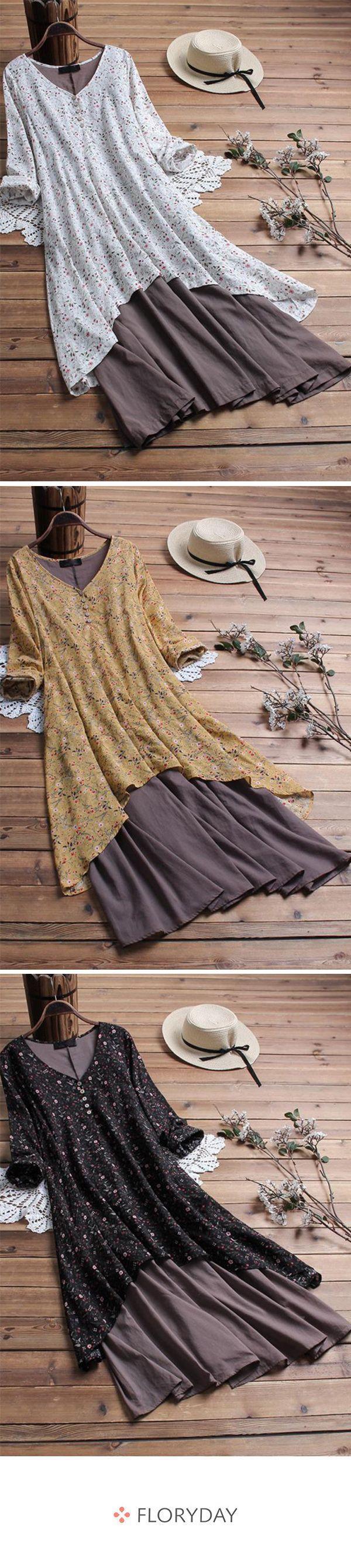 Große Größen mittellanges Kleid mit Blumenmuster und halblangen Ärmeln – #Ä…