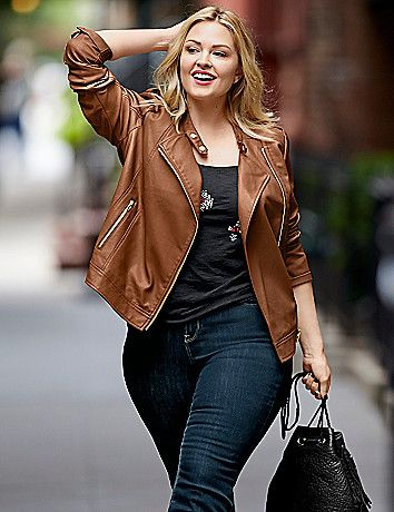 Sexy plus size leather jacket