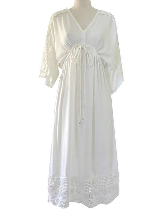 Lovely Casual Beach Dress  Perfect for a Wedding  Made in Hawaii  by  Angels of the Sea  Maxi or Ankle Length  Sizes S/M and M/L  Click the Large size to order the M/L  V-Neck  3/4 Sleeves  Front adjustable laces  100% Rayon Fabric  Economy Shi...