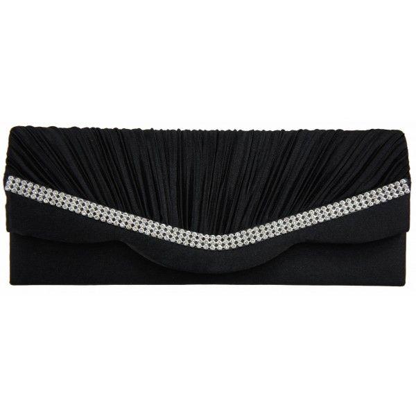 Black Ruffled Satin Diamante Evening Clutch Bag