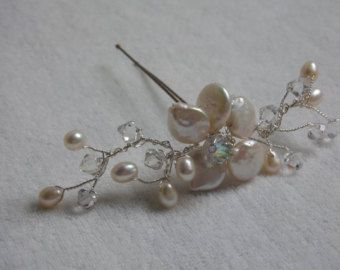 Items similar to White Swarovski Pearl Clear Crystal Rhinestone Silver Floral Bridal Hairpin on Etsy