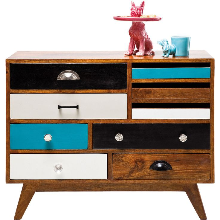 Dresser Babalou Beach - KARE Design An elegant dresser with Fifties flair - Just right for individualists! Our designers were inspired by the colours of the Fifties, the flea markets of Paris and the skills of our cabinetmakers. #kare #karedesign #summer #babalou #dresser #fifties #turquoise #wood #colourful