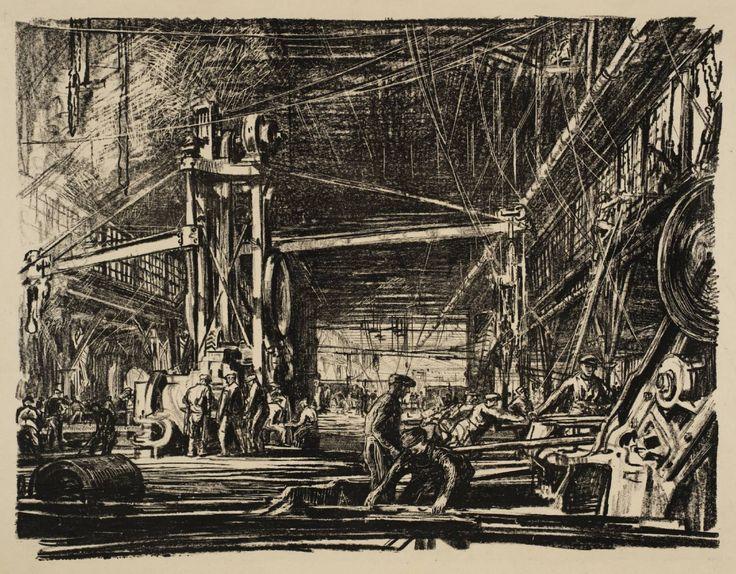 Sir Muirhead Bone, 'Building Ships: A Workshop' c.1917