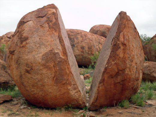 cracked egg at devils marbles, 393kn north of Alice springs.