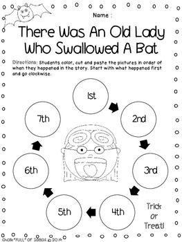 "Here is a FREE sequencing activity designed for use in the K-2 classroom setting. It goes along with the book ""There Was an Old Lady Who Swallowed a Bat"" by Lucille Colandro. Students will retell the story in order by coloring, cutting, and pasting the sequence circles into the correct ordinal position. Students will start with the first event in the 1st circle, and continue clockwise to the 7th (last) event."