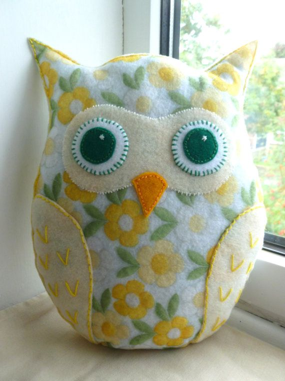 Handmade Felt Owl Pillow Lavender Scented by SewJuneJones on Etsy. #owl #pillow #lavender #felt #homedecor