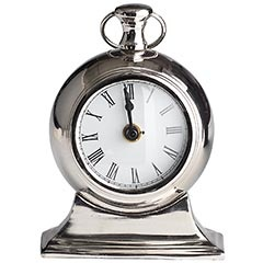 small nickel-plated table clock, $16 pier oneSmall Tables, Nickel Pl Tables, Tables Clocks