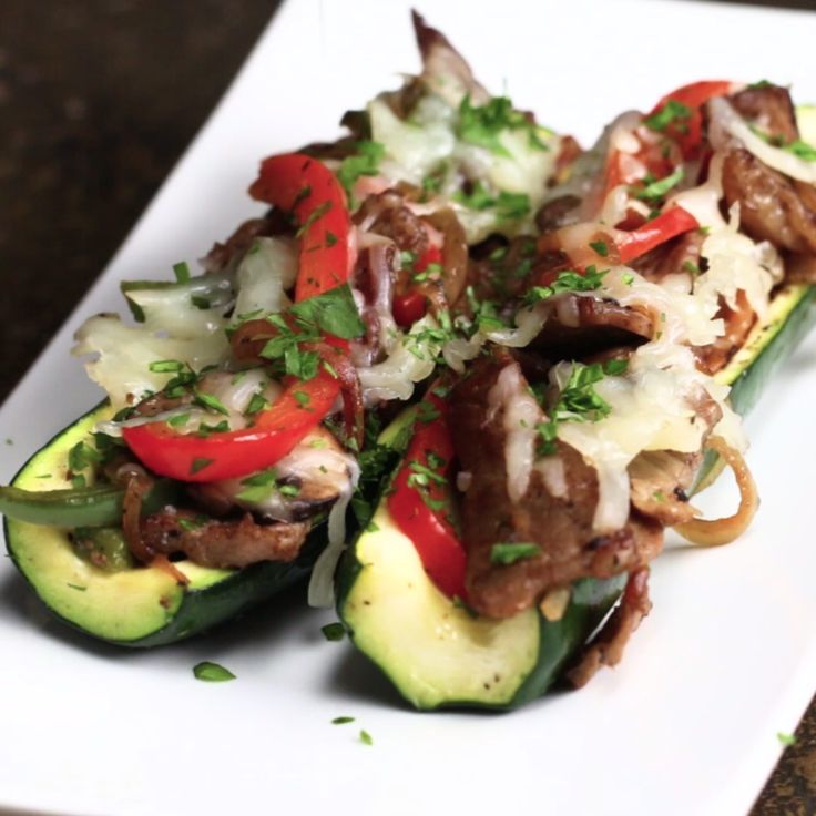 Steak & Veggie Zucchini Boats