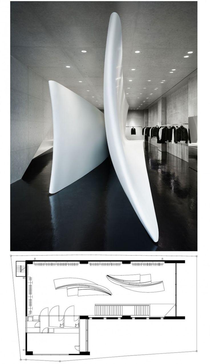 interior of Neil Barrett store by Zaha Hadid Architects in Tokyo