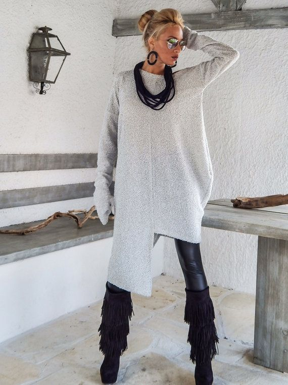Winter Warm Wool Boucle Dress Tunic / Off White Asymmetric Plus Size Dress / Oversize Loose Dress / #35154