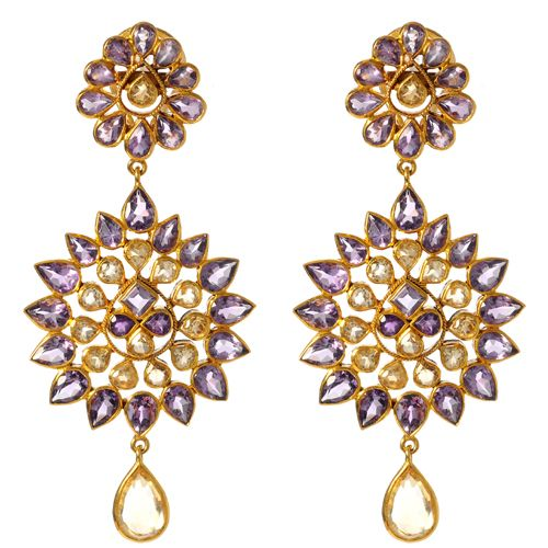 14k gold earring with amethyst and citrineby Amrita Singh. | via amritasingh.com