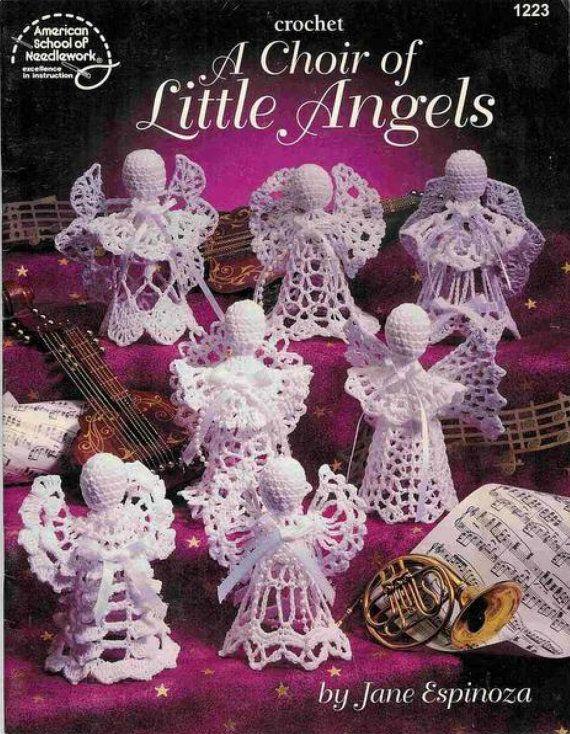 Angel haak patronen, vintage patroon, kerst engel, Kerst patroon, draad haak, angel patroon, boom ornamenten, instant download
