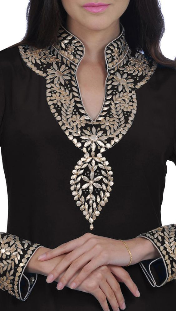 Black Hand Embroidered Gota Patti Pure Crepe Kurta