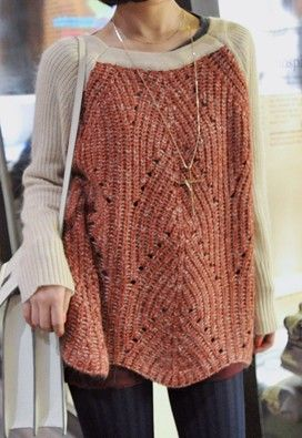 Beige Wine Red Raglan Sleeve Zigzag Sweater