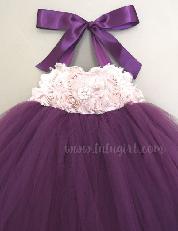 Plum Flower Girl Tutu Dress with Champagne - Starting at $68.99