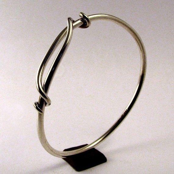 Sterling Silver Bracelet Sliding Latch Bangle by cgwhitfield
