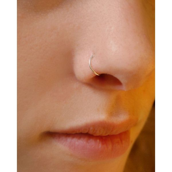 Sterling Silver Nose Ring Small Basic Hoop ($7) ❤ liked on Polyvore featuring jewelry, earrings, twisted hoop earrings, sterling silver jewelry, sterling silver earrings, hoop earrings and sterling silver jewellery