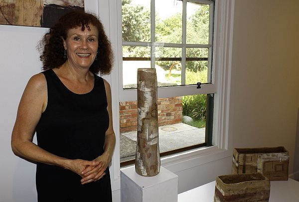Jacqueline Lewis exhibiting artist at the opening for Mudlarks, Strathnairn Arts,  19 February to 15 March 2015