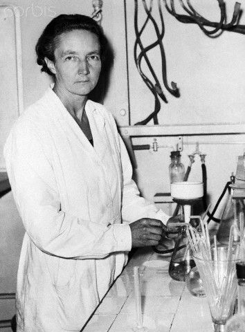 Irene Joliot-Curie: 1897-1956; The French physical chemist Irene Joliot-Curie was awarded, with her husband, the 1935 Nobel Prize for Chemistry for the discovery of new radioactive isotopes prepared artificially.  She was the daughter of Nobel Prize winners Pierre and Marie Curie.