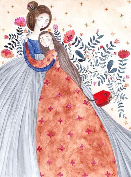 kürti andrea #illustration #motheranddaughter #hug