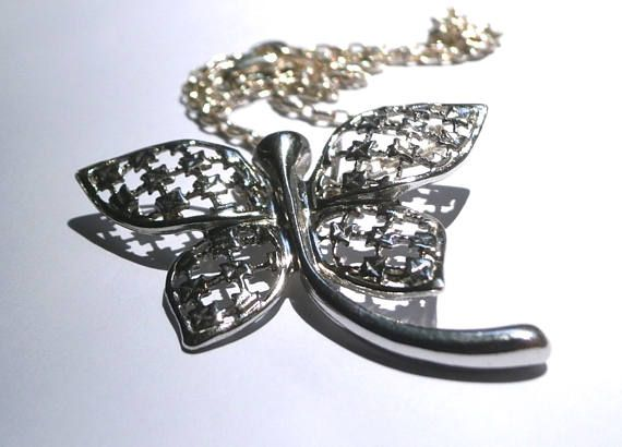 Dragonfly Necklace Sterling Silver Dragonfly Antique Pendant