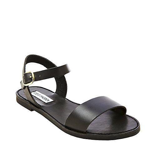 DONDI BLACK womens sandal flat ankle strap