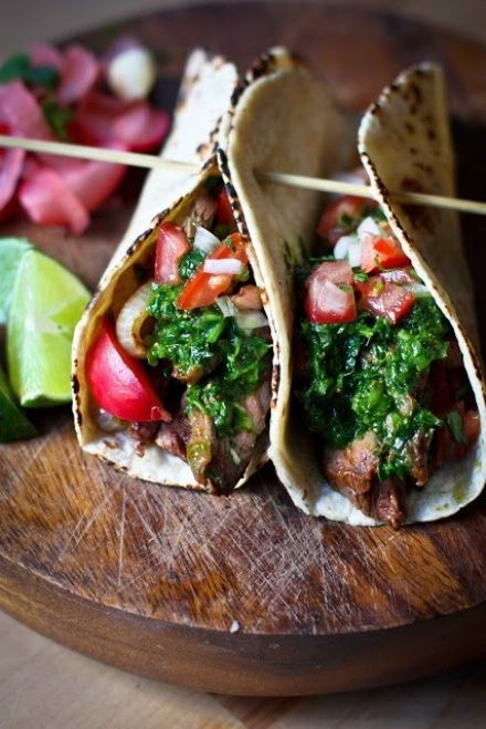 Grilled steak tacos with cilantro chimichurri sauce /