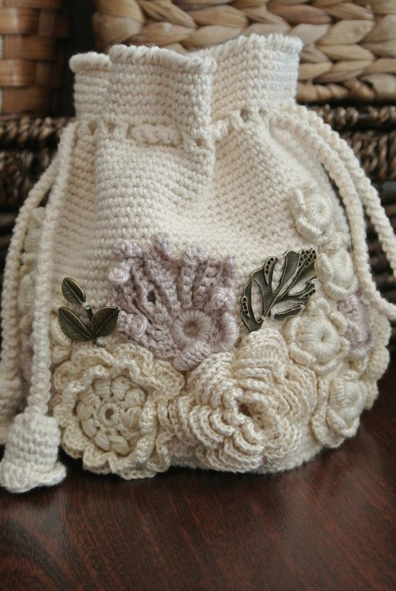 #White bag, cosmetic bag. Irish lace. #Knitted bag, handmade. White bag, Crochet…