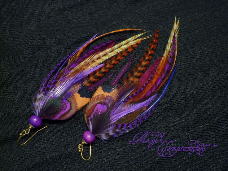 Купить Фиолетовые серьги из перьев - фиолетовый, фиолетовые серьги, серьги, серьги из перьев, серьги с перьями