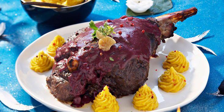 Gigue de chevreuil sauce au gingembre confit et purée de patates douces