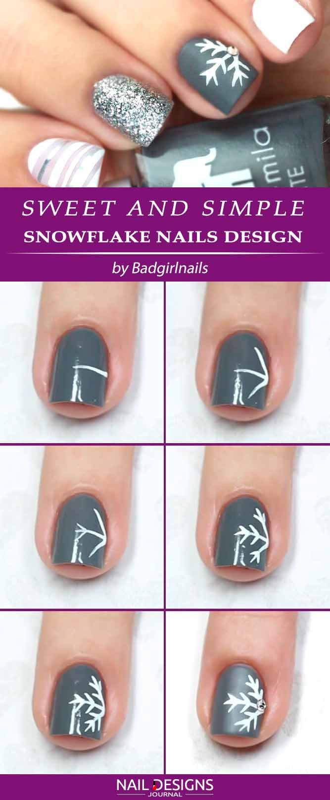 Sweet And Simple Snowflake Nails Design