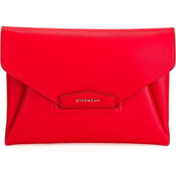 Givenchy Large Antigona Clutch found on Polyvore featuring bags, handbags, clutches, red, envelope clutch, givenchy handbags, envelope clutch bag, givenchy purse and red purse
