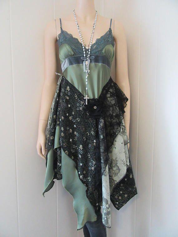 Shabby Vintage Lace Boho & Seiden Tunika Kleid grün mit grauen