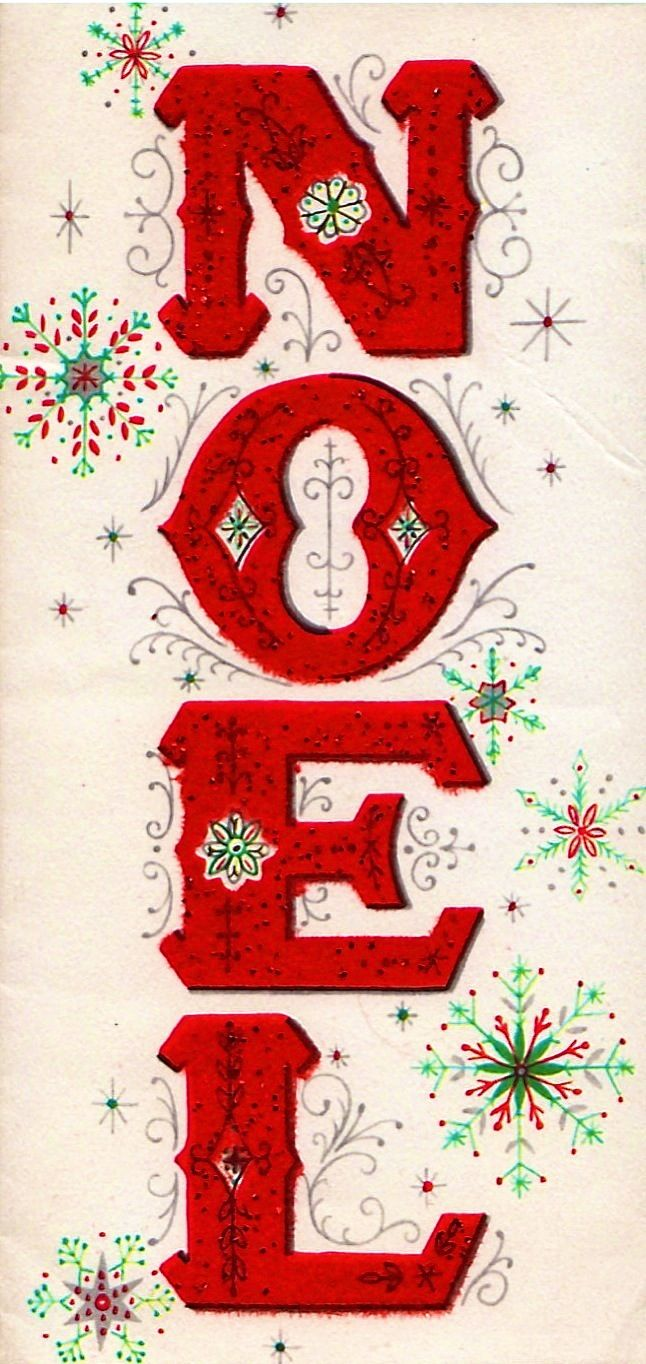 Recreate into a sign or find letters in this font shape. Vintage Christmas card